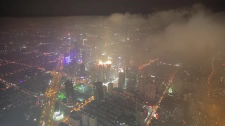 akşam : Aerial View of Lujiazui business center,Shanghai.China