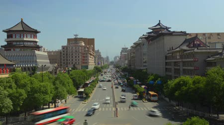 shaanxi : Busy cars and trains on main roads ,xian,shaanxi,China