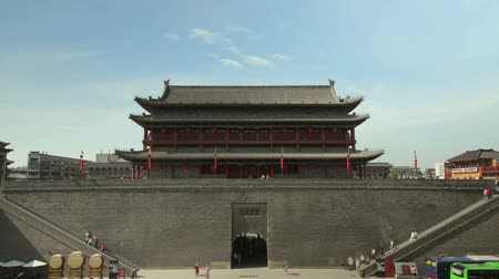architectural protection : Timelaspe shot of  South gate of Xian city wall ,xian,shaanxi,China Stock Footage