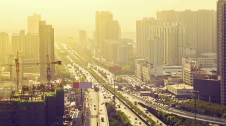 avenues : Timelapse Traffic on busy street  ,xian,shaanxi,China