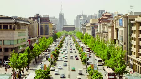 shaanxi : Timelapse Traffic on busy street  ,xian,shaanxi,China