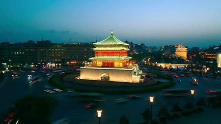 xian : XI AN, CHINA - April 12, 2013: Time lapse of Xian Bell Tower ,day to night