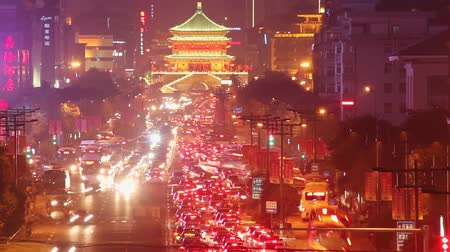 autobahn : traffic Of Xian At Night,China.