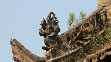 saçak : traditional roof eaves of a Chinese  temple Stok Video