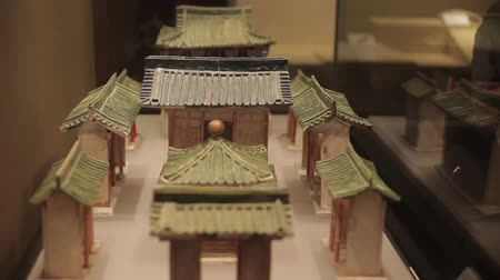 relics : XIAN China-May 30 2012: Chinese ancient cultural relic display in Shaanxi Museum Stock Footage