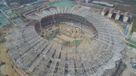 futball labda : AERIAL shot of stadium being built,China