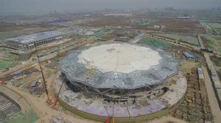 non us location : XIAN, CHINA - MARCH 25, 2019: AERIAL shot of stadium being built,China