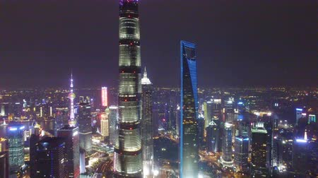 AERIAL shot of Shanghai Lujiazui City Night Scene,China Vidéos Libres De Droits