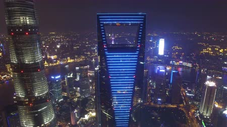 crowded : AERIAL shot of Shanghai Lujiazui City Night Scene,China Stock Footage