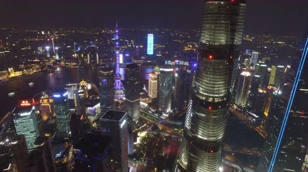 жемчуг : AERIAL shot of Shanghai Lujiazui City Night Scene,China Стоковые видеозаписи