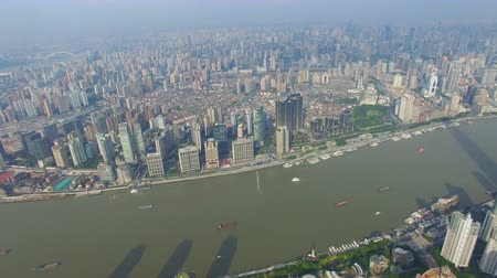 Aerial view of high-rise buildings with Huangpu River,China.