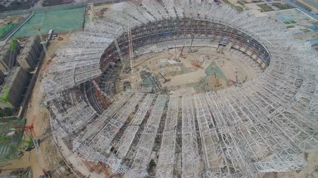 shaanxi : XIAN, CHINA - MARCH 25, 2019: AERIAL shot of stadium being built,China