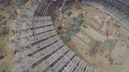 futball labda : XIAN, CHINA - MARCH 25, 2019: AERIAL shot of stadium being built,China