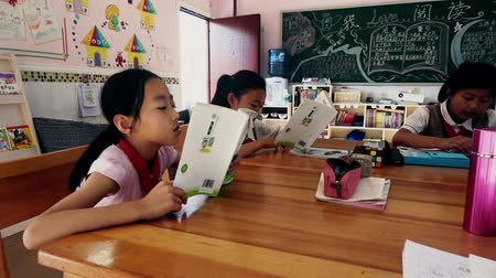 borracha : Guangyuan, CHINA - JUNE 04, 2019: Schoolchild and teacher in classroom,China. Vídeos