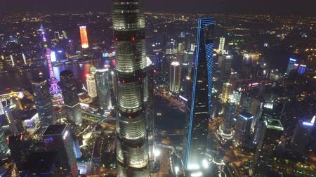 hochhäuser : AERIAL shot of Shanghai Lujiazui City Night Scene,China Videos