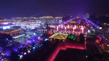 xian : Aerial view of lighting show in Datang Everbright city for celebrate Chinese spring festival ,xian, shaanxi, china
