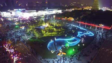 Aerial View of Big Wild Goose Pagoda Fountains Square ,Xian, Shaanxi, China