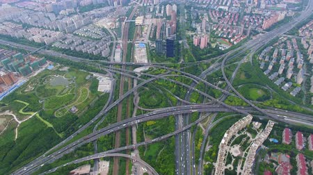 AERIAL Shot of traffic moving on overpasses,Shanghai,China. Stockvideo