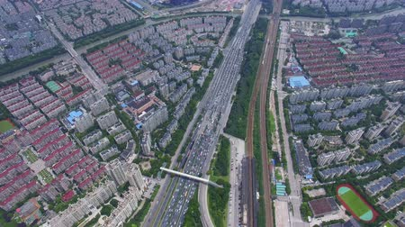 上海 : AERIAL Shot of traffic moving on overpasses,Shanghai,China. 動画素材