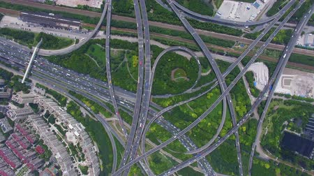 AERIAL Shot of traffic moving on overpasses,Shanghai,China. Wideo