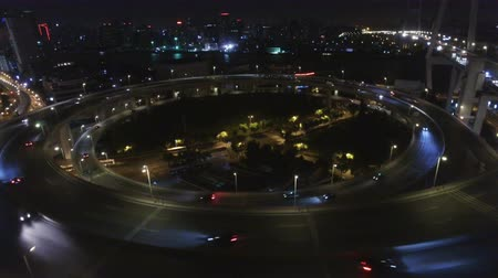 em camadas : AERIAL Shot of traffic moving on overpasses,Shanghai,China. Stock Footage