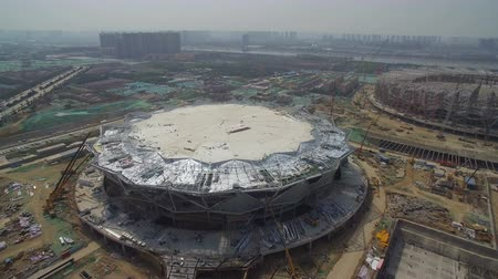 высокое разрешение : XIAN, CHINA - MARCH 25, 2019: AERIAL shot of stadium being built,China