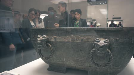 alaşım : BEIJING, China, APRIL 12, 2016. Bronzes on display at the National Museum of China