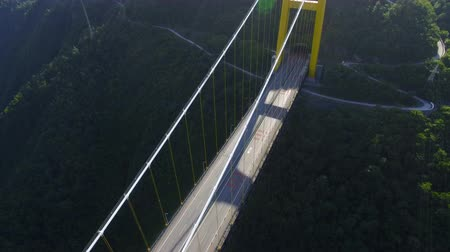 built up : Aerial view of siduhe suspension bridge on canyon,Hubei,China.