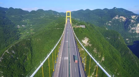thoroughfare : Aerial view of siduhe suspension bridge on canyon,Hubei,China.
