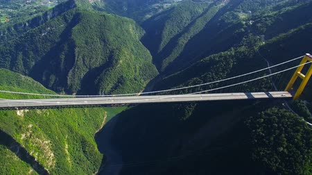 Aerial view of siduhe suspension bridge on canyon,Hubei,China.