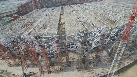 província : XIAN, CHINA - MARCH 25, 2019: AERIAL shot of stadium being built,China