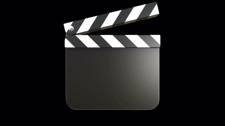 film slate : 3D animation of a film clapper with alpha matte