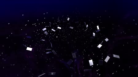confecção : 3D animation - Futuristic virtual space with stars and nebulas. Lot of glass parts making a film strip.