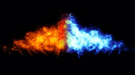 benzin : Two flames (red and blue) against each other. Flame thrower 3D rendering with ALPHA.