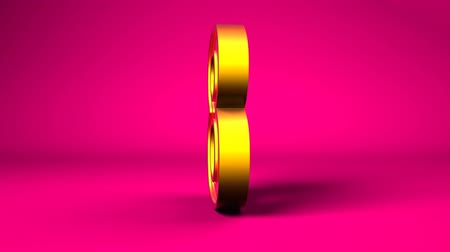 eight : Golden number 8 highly detailed rotating on a pink background with alpha for extraction.