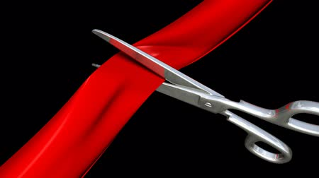 fitas : New opening. Cutting the ribbon with a scissors. 3D animation. Vídeos