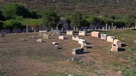 sarcophagus : Roman street and sarcophagus in Ephesus (Efes) from Roman time. Stock Footage