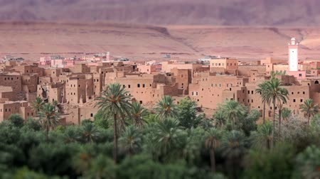 marrocos : Panorama of a village in Moroccan hills, Morocco, thousand Kasbah road. Oasis in Sahara desert area. Tilt-shift effect. Vídeos
