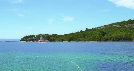 adriyatik : A wooden tourist sailboat near island Mljet taking tourists for a trip