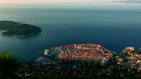 tragédia : Sunrise over old stone city walls of Dubrovnik Stock Footage