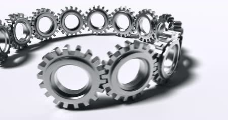 alumínium : Metaphor for making a synchronized team. Gears are bending to form a perfect circle. You can cut last part of clip for a loopable clip, 43frms.