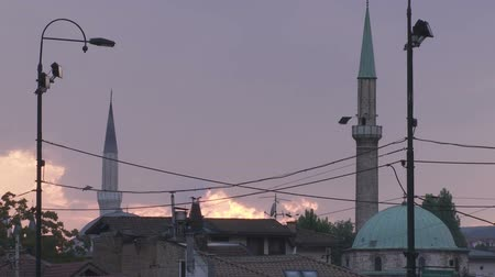 bascarsija : Sarajevo old town minarets at sunset Stock Footage