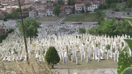 bascarsija : View to the islamic cemetary in Sarajevo, Bosnia an Herzegovina