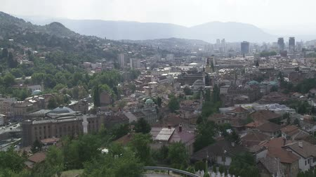 bascarsija : Panorama of Sarajevo with Gazi Husrev mosque from Ottoman period in the begining of Bascarsija, Bosnia an Herzegovina