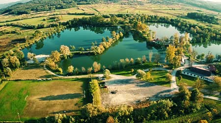 popularly : Excavation of clay turned into a lake and a popular picnic place in Bedekovcina in Zagorje. Stock Footage