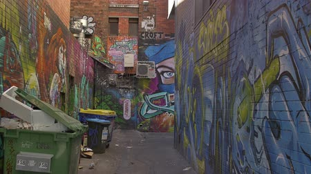 произведение искусства : MELBOURNE AUSTRALIA  MARCH 21 2015: Colorful graffiti in back alley of downtown depicts an face on the corner of a building.