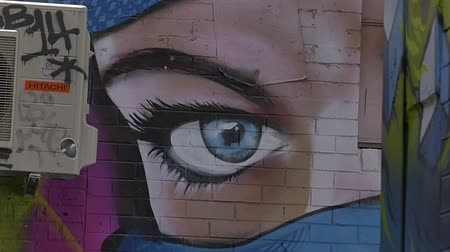 произведение искусства : MELBOURNE AUSTRALIA  MARCH 21 2015: Colorful graffiti in Croft alley of downtown depicts the face on the corner of a building.