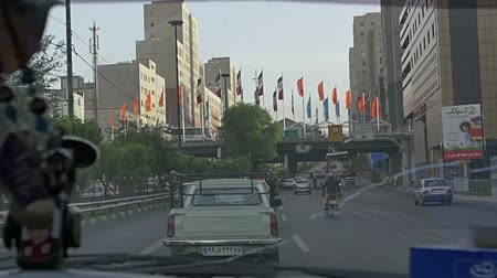 teheran : TEHRAN, IRAN - MAY 1, 2015: Entering to the city from Navvab highway shot in slow motion.