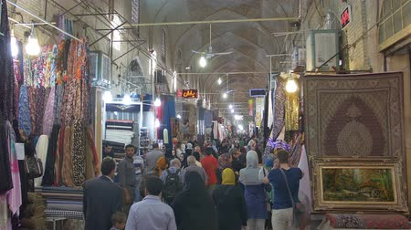 persie : SHIRAZ, IRAN - MAY 3, 2015: People buying at the stores on the Vakil Bazaar, is located in the old city centre. Dostupné videozáznamy