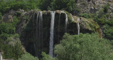 travertine : Waterfall Krcic flows into the river Krka in Knin, Croatia. Stock Footage